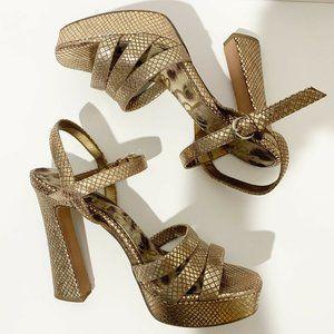 Sam Edelman Gold Taryn Snake Heel Sandal Platforms